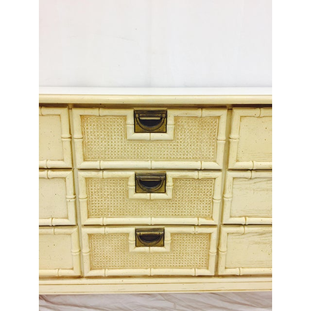 White Vintage Faux Bamboo Dresser For Sale - Image 8 of 10
