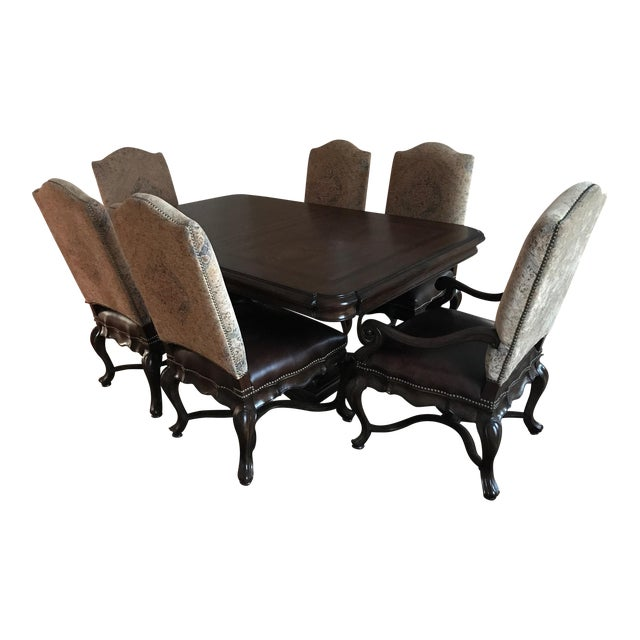 Thomasville Bibbiano Trestle Dining Table and Upholstered Chairs For Sale
