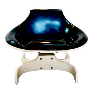 1960s Vintage Joe Colombo Iridescent Blue Sella 1001 Chair For Sale