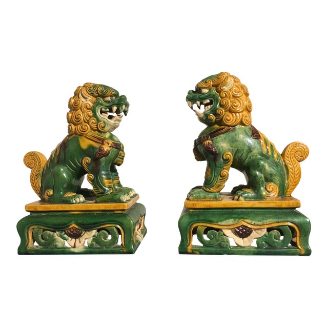 1920s Chinese Sancai Glazed Foo Lions - a Pair For Sale