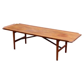 Mid-Century Modern Danish Teak Rectangular Coffee Table Peter Hvidt Style 1960s For Sale