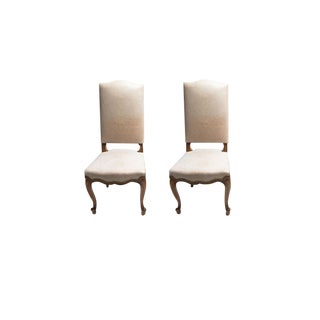 Louis XV Leather Upholstered Dining Chairs - a Pair For Sale