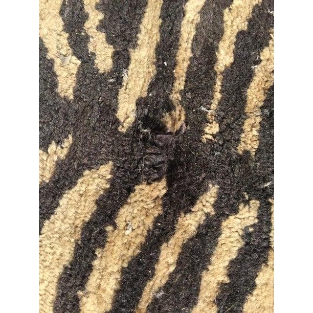 "Cream & Black Animal Print Wool Rug - 4' X 6'4"" - Image 3 of 5"
