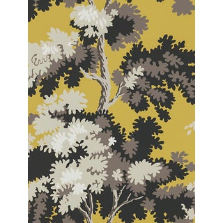 Sample, Scalamandre Raphael, Yellow/Grey/Lh Wallpaper For Sale