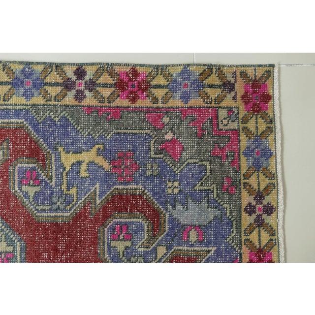 1970s Vintage Turkish Handwoven Rug - 4′3″ × 7′1″ For Sale - Image 9 of 10