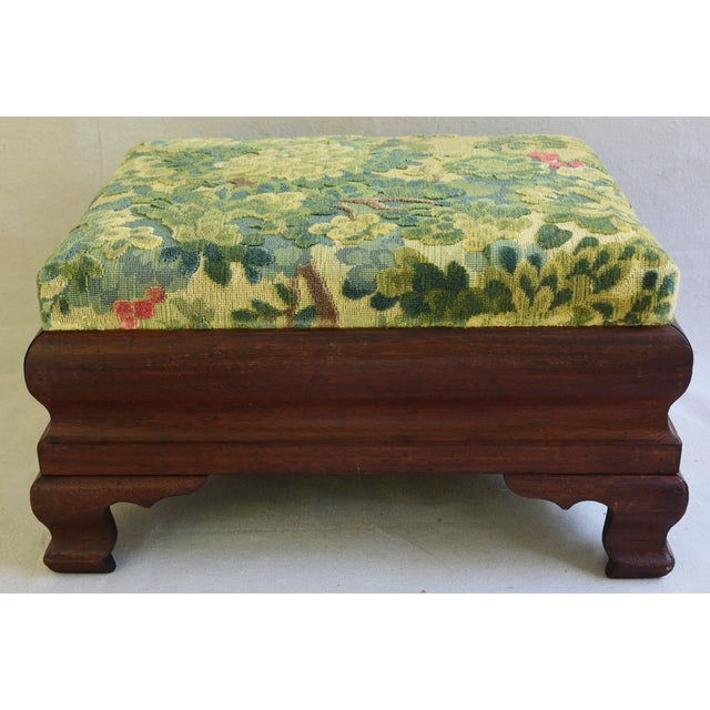 Early Carved 1900s Foot Stool w/ Scalamandre Marly Velvet Fabric - Image 7 of 11