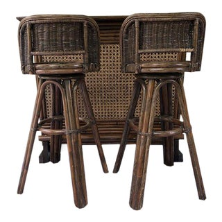 Mid-Century Bamboo Rattan and Cane Tiki Bar Set With Barstools - 3 Pc. Set