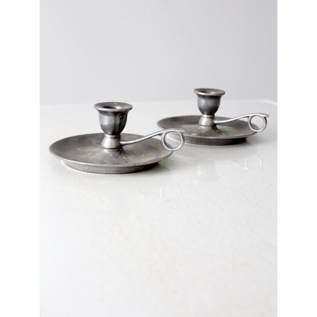 Vintage Carson Pewter Style Candlestick Holders - a Pair For Sale - Image 9 of 9