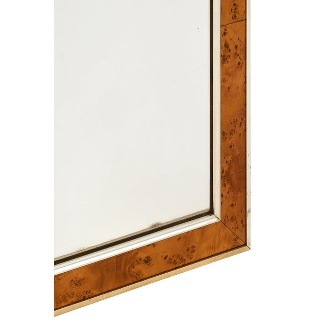 Mid-Century French Burled Ash Mirror For Sale In Austin - Image 6 of 7