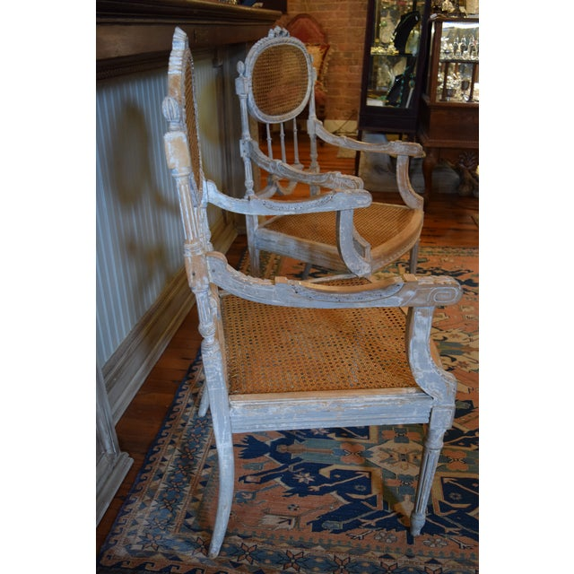 Stunning antique French chairs with caned back & seat. Beautiful distressed  frame finish with perfect - Antique French Caned Chairs - A Pair Chairish