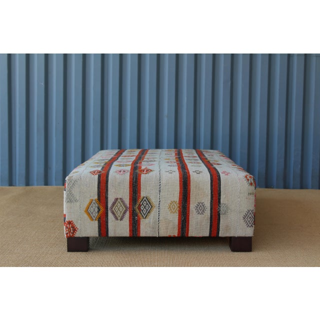 Mid-Century Modern Ottoman Upholstered in a Vintage Rug For Sale - Image 3 of 10