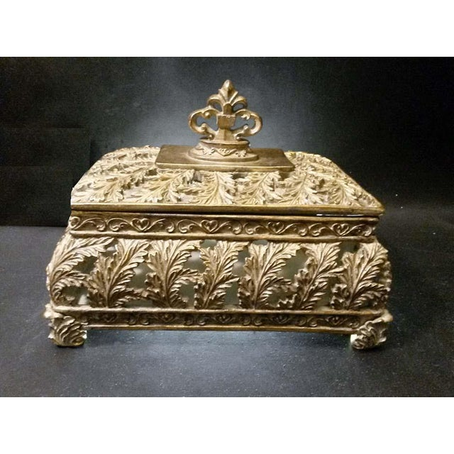 Scrolling Openwork Leaf Design Gold Footed Box - Image 2 of 5
