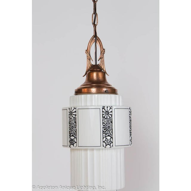 Restored Art Deco Milk Glass Pendant With Copper Fixture For Sale - Image 4 of 8
