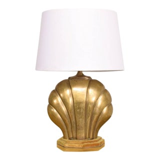 Hollywood Regency Sea Shell Table Lamp in Brass For Sale