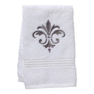 Gray Fleur de France Guest Towel White Terry, Embroidered For Sale