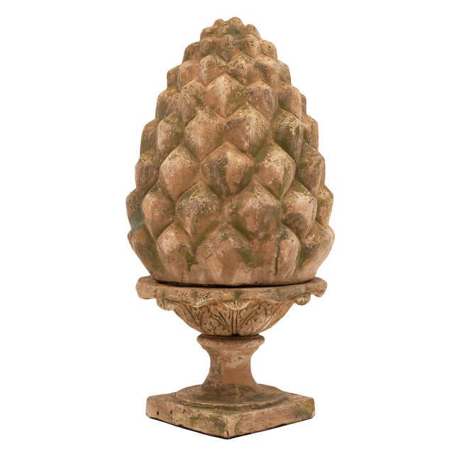 Tan French Vintage Terracotta Pine Cones - a Pair For Sale - Image 8 of 10