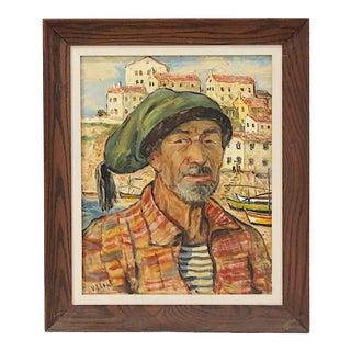 """Original Mid 20th Century Oil/Canvas-Portrait-Southern European Man-Signed """"Villon"""" For Sale"""