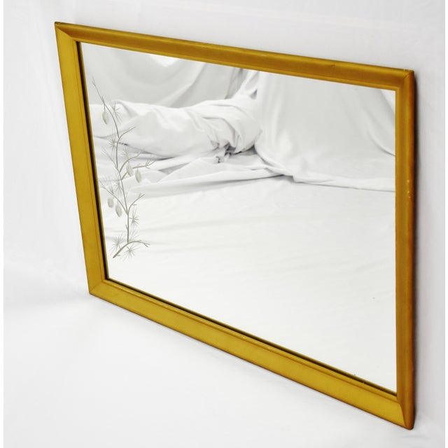 Mid-Century Modern MCM Gold Gilt Framed Etched Glass Wall Mirror For Sale - Image 3 of 13