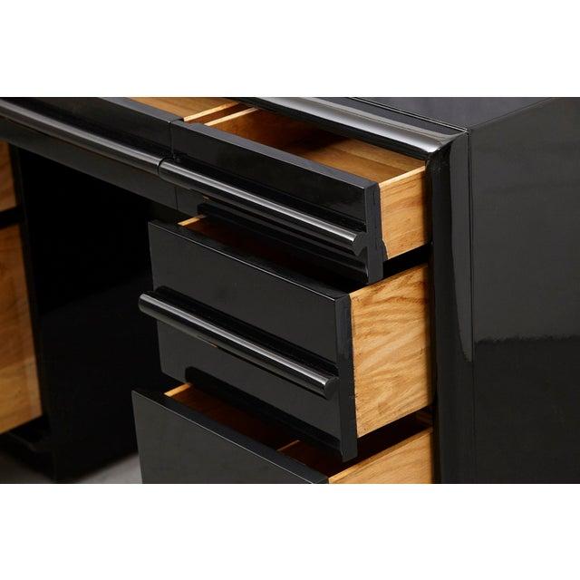 Wood T.H. Robsjohn Gibbings Walnut Kneehole Desk, Ebonized with Brass Pulls For Sale - Image 7 of 12