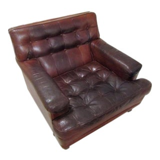 Leather Tufted Club Chair For Sale