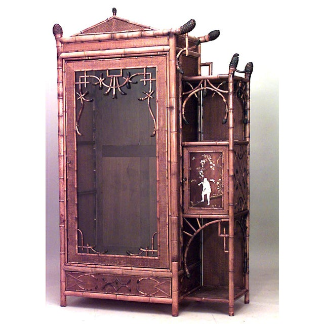 Bamboo 'English Victorian' Single Glass Door Armoire Cabinet For Sale - Image 4 of 4