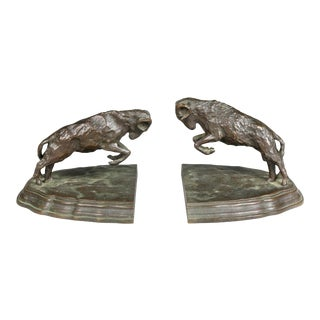 Bronze Ram Form Bookends - a Pair For Sale