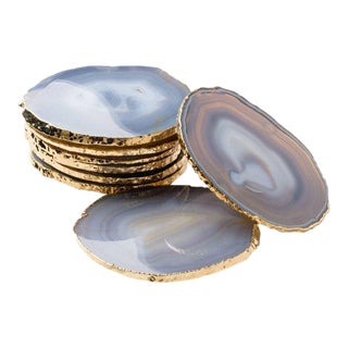 Semi-Precious Gemstone Coasters Grey Agate Wrapped in 24-Karat Gold - Set of 8 For Sale