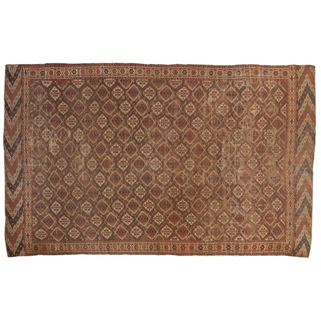 "Antique Beshir Carpet - 8'9"" X 14' For Sale - Image 13 of 13"