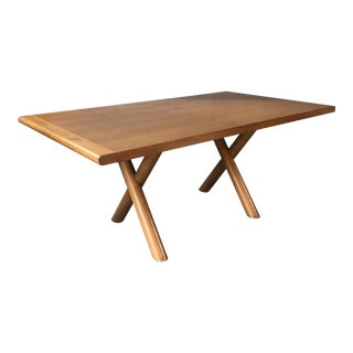 1990s Vintage X Leg Wood Dining Table For Sale