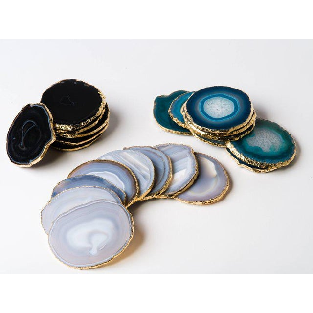 Gold Set of Eight Semi-Precious Gemstone Coasters in Teal Wrapped in 24-Karat Gold For Sale - Image 8 of 11