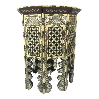 Vintage Moroccan Inlaid Side Table For Sale