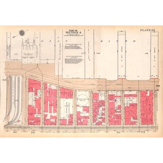 New York City Map, West Side, Hudson River, 42nd Thru 50th St., Eleventh Ave, Ninth Ave, 1934 (Pl. 69-70) For Sale