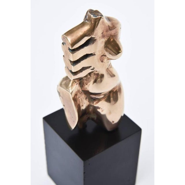 Signed Initialled Mid Century Bronze Sensual Abstract Cubist Torso Sculpture For Sale - Image 10 of 11