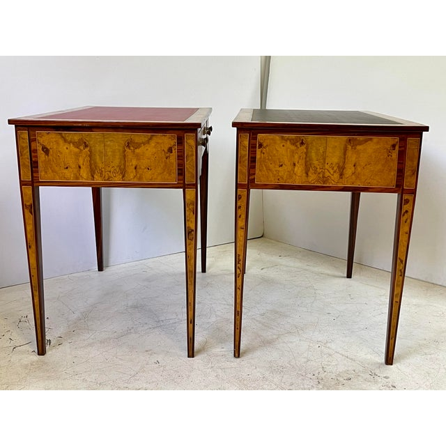 Brown Pair of Italian Burl Wood Writing Tables For Sale - Image 8 of 13
