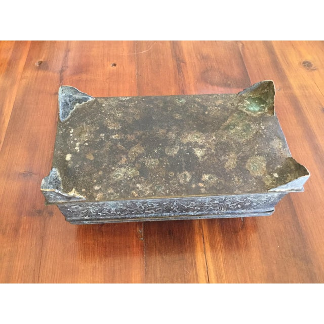Metal Antique Brass Betal Nut Box From Madeira, Indonesia For Sale - Image 7 of 8