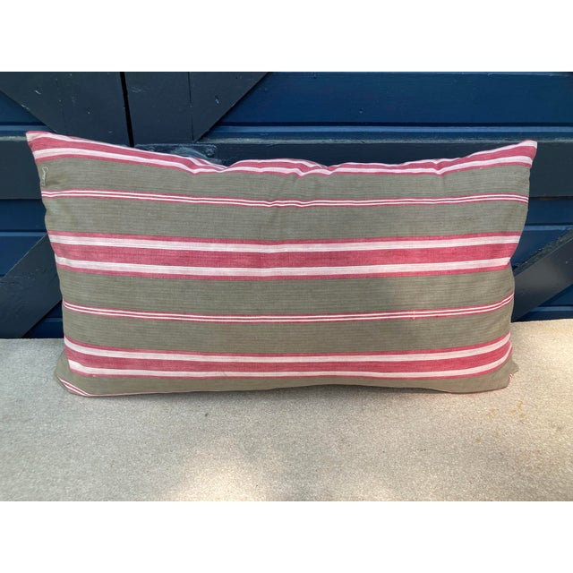Antique French Red & Brown Ticking Stripe Fabric Pillow For Sale - Image 4 of 4