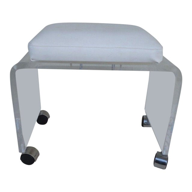Vintage Mod Lucite Waterfall Bench For Sale