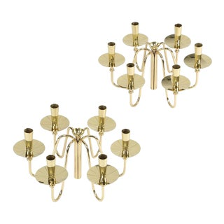 1950'S VINTAGE TOMMI PARZINGER BRASS CANDELABRA- A PAIR For Sale