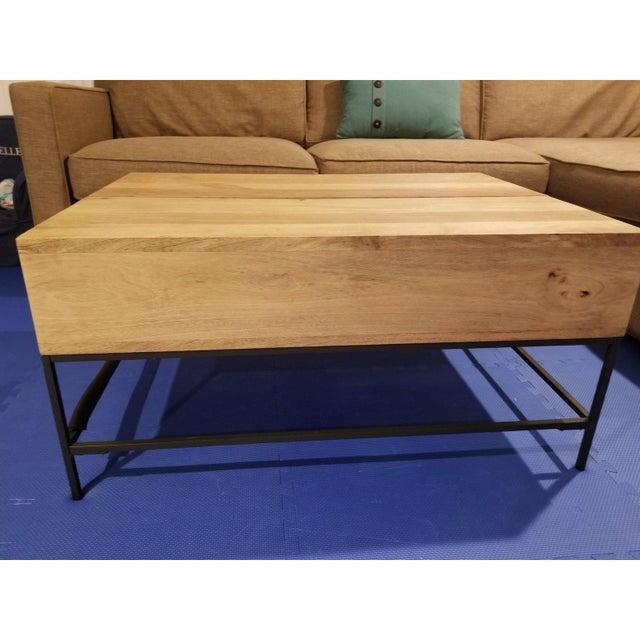 West Elm Industrial Raw Mango Storage Coffee Table Chairish
