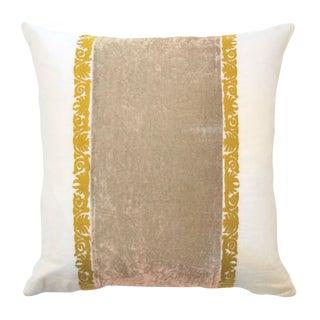 Francesca White Linen & Taupe Velvet Accent Pillow For Sale