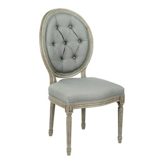Everest Medallion Tufted Back Side Chair in Sage Linen For Sale