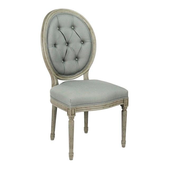 Everest Medallion Tufted Back Side Chair in Sage Linen For Sale