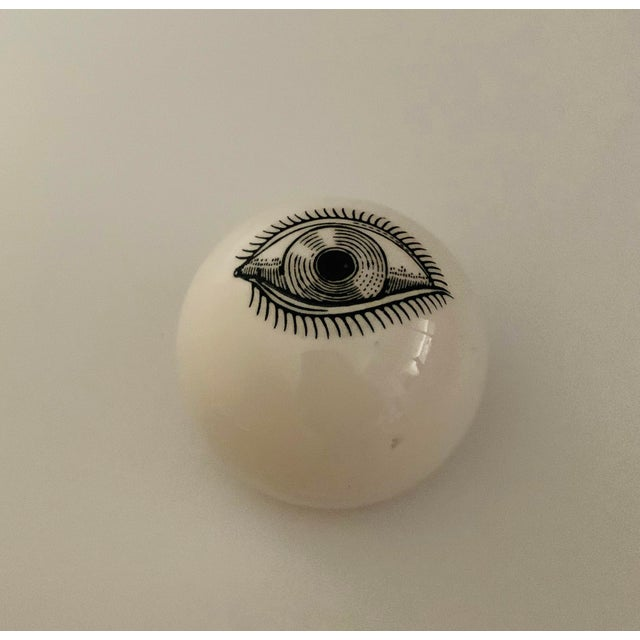 Black 1960s Piero Fornasetti Surrealist Ceramic Eye Eyeball Paperweight For Sale - Image 8 of 11