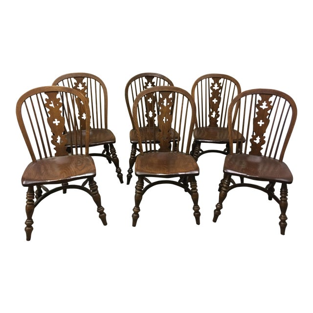 1970s Conant Ball Windsor Plank Oak Dining Chairs - Set of 6 For Sale