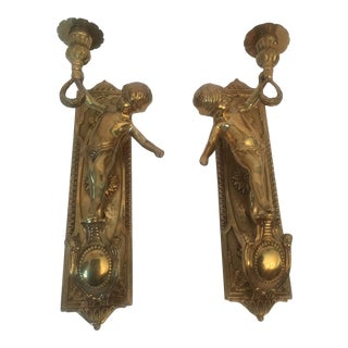 Antique French Figural Brass Cherub Wall Candle Scones - a Pair For Sale