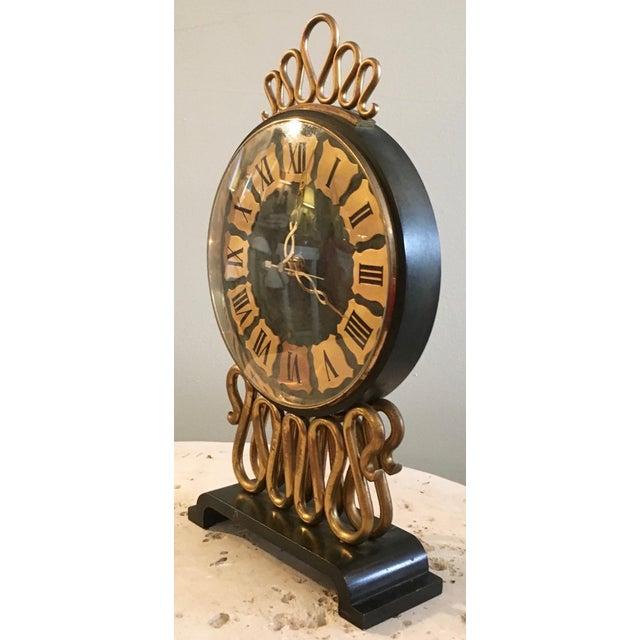Hollywood Regency Mid-Century Bulova Table Clock For Sale - Image 3 of 6
