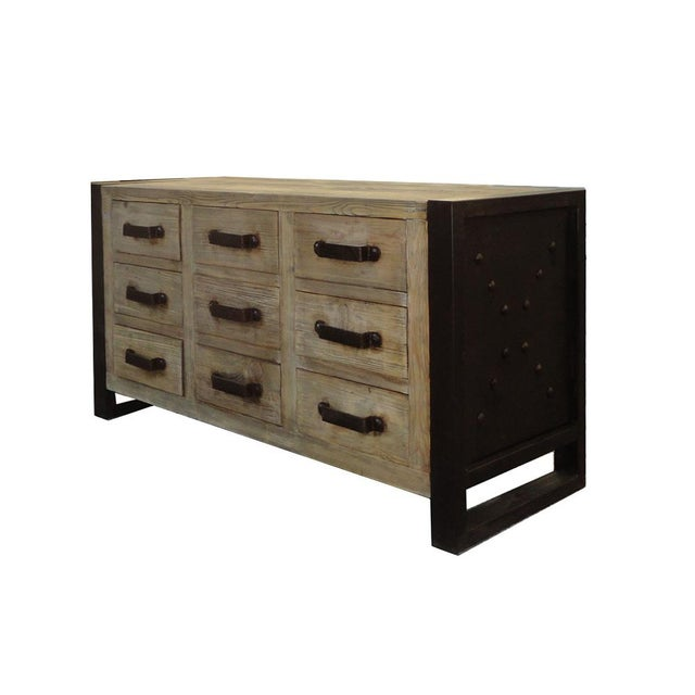 Rustic Wood & Iron Dresser Cabinet - Image 4 of 6