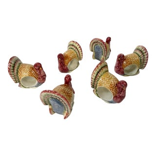 Ceramic Turkey Napkin Rings, Set of 6 For Sale