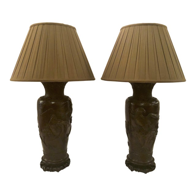 Pair Antique Japanese Bronze Urns Made Into Lamps, Circa 1900-1910. For Sale
