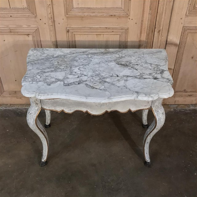19th Century Swedish Painted Marble Top Console For Sale In Dallas - Image 6 of 13